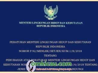 Permen LHK No P.92 / Tahun 2018
