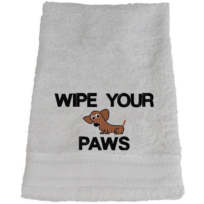dachshund embroidery design on a towel
