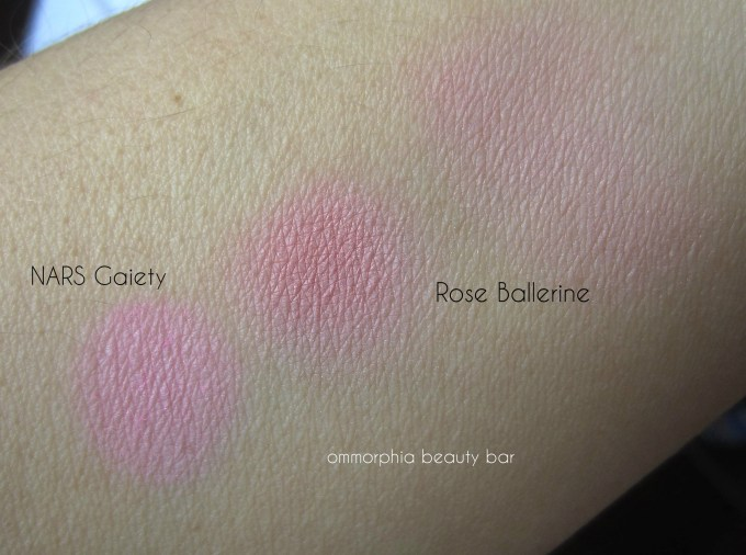 Lancome Rose Ballerine vs NARS Gaiety swatches