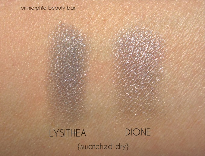 NARS Dione & Lysithea swatches dry