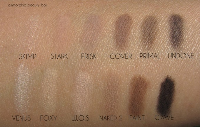 UD Naked Basics 1 and 2 swatches