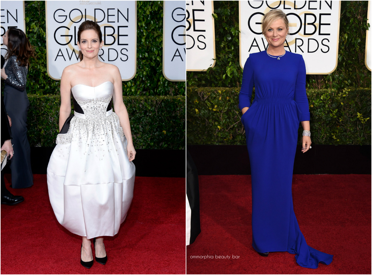 10f0f767370 Golden Globes hosts Tina Fey (in a bespoke Antonio Berardi dress)   Amy  Poehler (in a Stella McCartney dress) arriving on the red carpet – they  changed ...