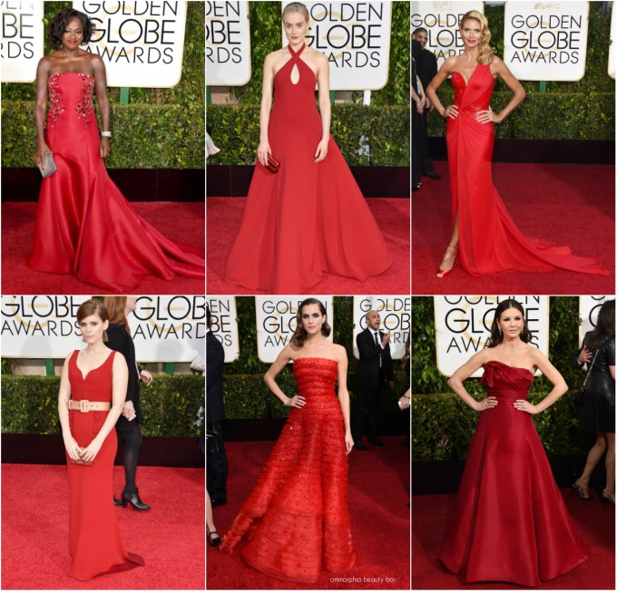 Golden Globes 2015 red collage