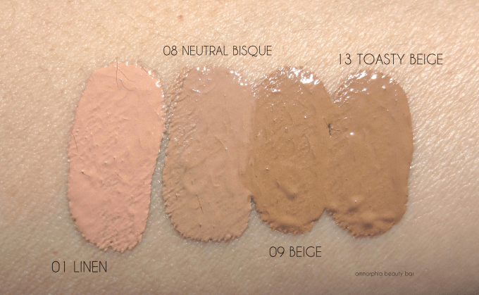 EA Flawless Finish foundation swatches 2