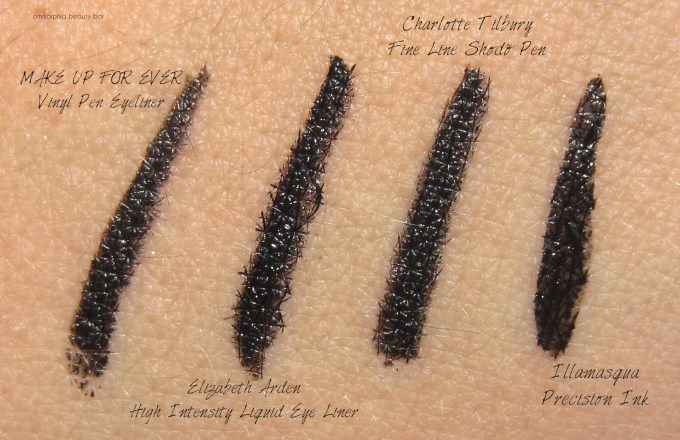 EA High Intensity Liquid Eye Liner comparison swatches