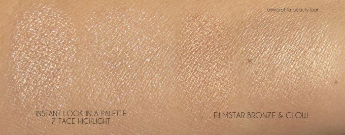 CT Insant Look In A Palette highlight vs Filmstar swatches