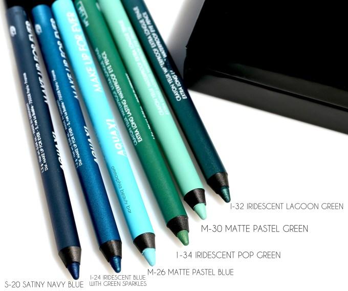 MUFE Aqua XL pencils blue green group