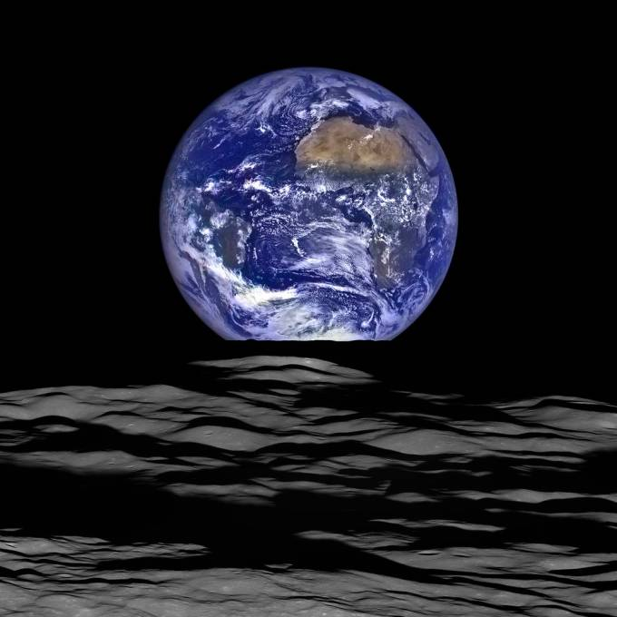 Earth from moon's surface