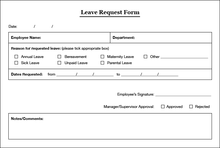 Leave Request Form Template 14 practiced handyman invoice – Leave Request Template