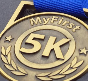 #first5k medal, running medal,first run medal, 5k fundraising