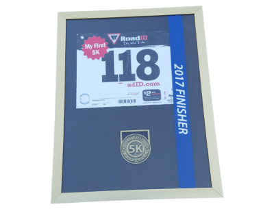 first 5k display frame, first finishers medal