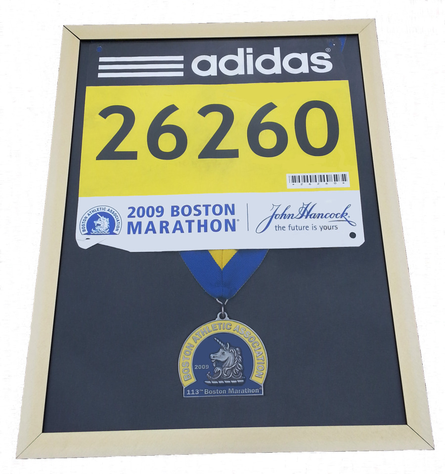 Boston Marathon finishers medal, display frame