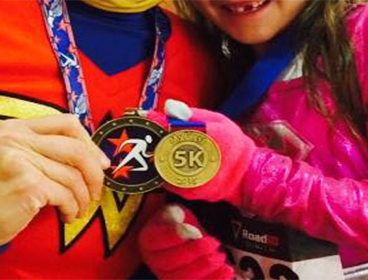 childrens medal, running with my kids