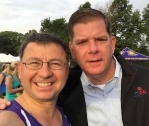 Bill Ozaslan, Mayor Walsh, BAA Half Marathon