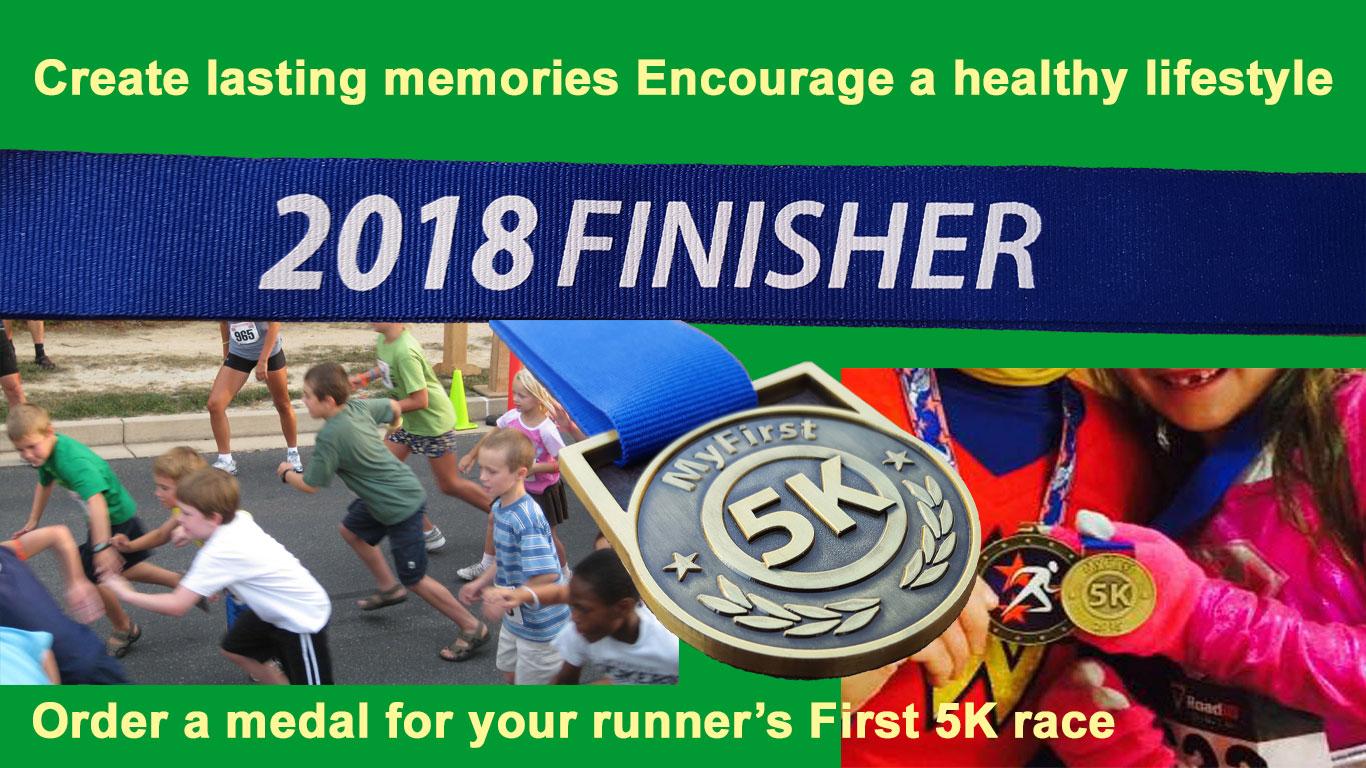 kids running medals, first race medals, my first 5k medal