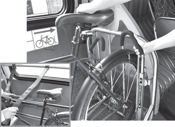 Back of bike on bus