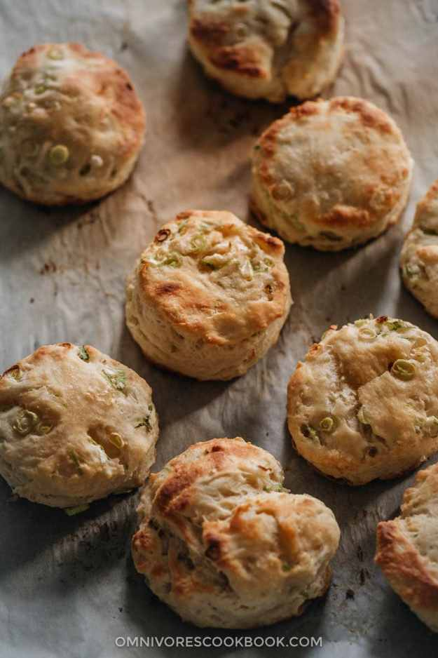 Homemade scallion biscuits on parchment paper