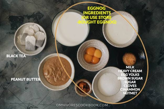 Ingredients for making peanut butter eggnog milk tea