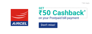 Phonepe Aircel Postpaid Recharge Offer