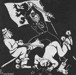 Op zijn stokpaardje met gulden sporen heeft de Brusselaar zijn slag verloren. Engelsch, Russisch of Amerikaans formaat: wee hen! als de 'goedendag' ooit slaat!