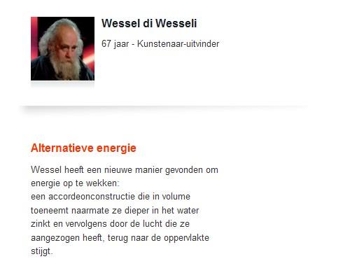 Wessel di Wesseli geselecteerd door de VRT - De Bedenkers