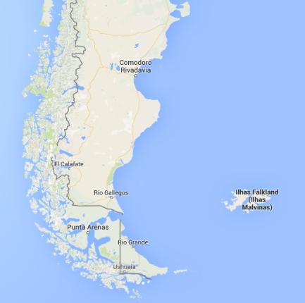Mapa Ilhas Malvinas