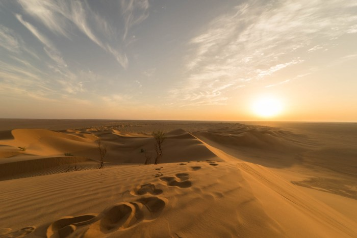 Sonnenuntergang in der Rub' al Khali im Oman