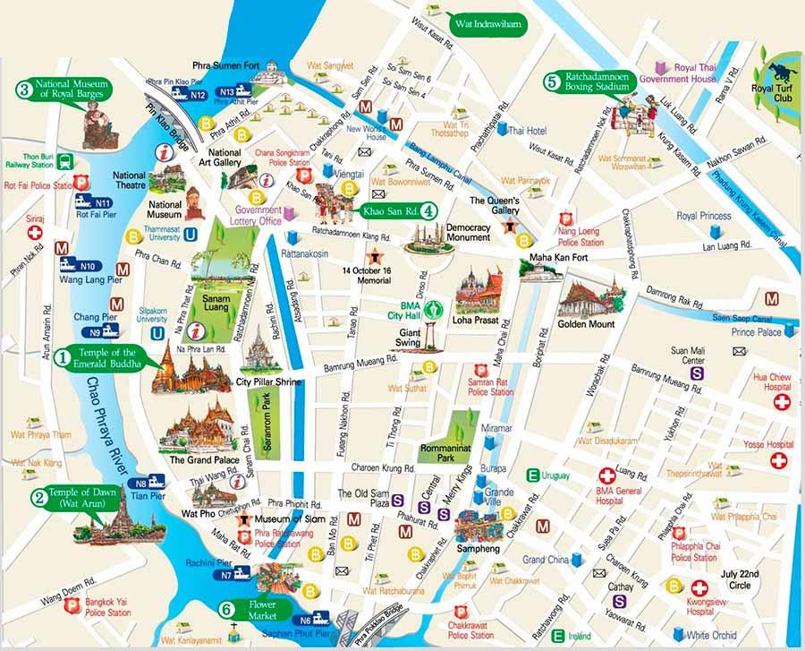 que-ver-en-Bangkok-mapa-turístico