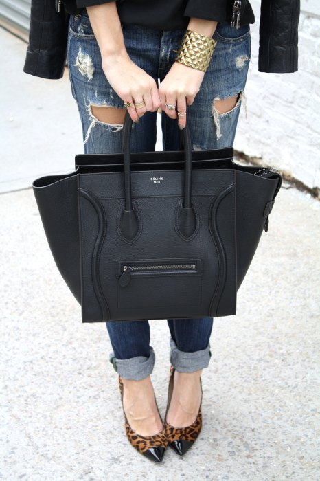 Ripped boyfriend jeans, Celine tote, Jimmy Choo Leopard heels, Chanel Vintage Earrings