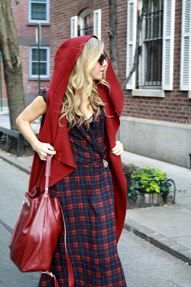 little red riding hood, ootd, plaid, nyc, street style