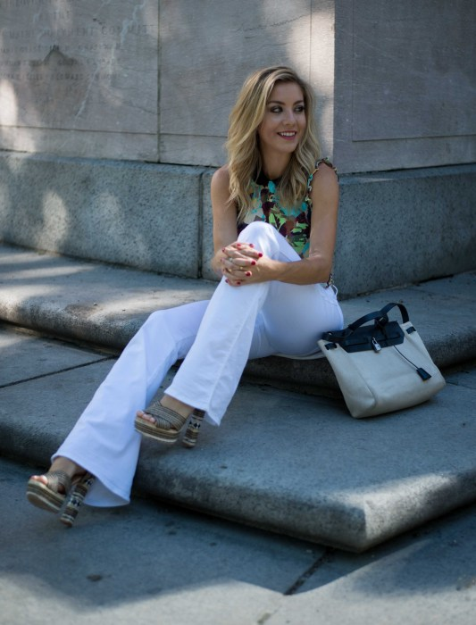 Impossibly Imperfect, White Jeans, How to wear, NYC, Street Style, Zara, Hermes, heels
