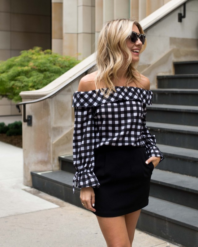 On the ten, Santa Monica, Spring trends, Gingham, off the shoulder, Gingham top, Styling tips
