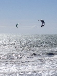 Kitesurfing on a cold, windy Malibu day