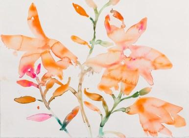 """""""Le Fleur, Comp 02"""", original water color, 20""""x 30"""" by Kim McCarty"""