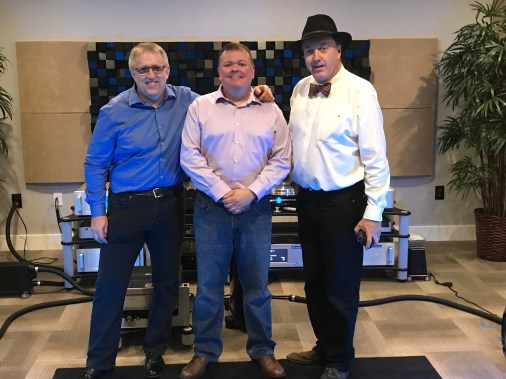 (left to right) Grant Samuelsen, Shunyata Research; Mike Bovaird, Suncoast Audio; Philip O'Hanlon, On A Higher Note
