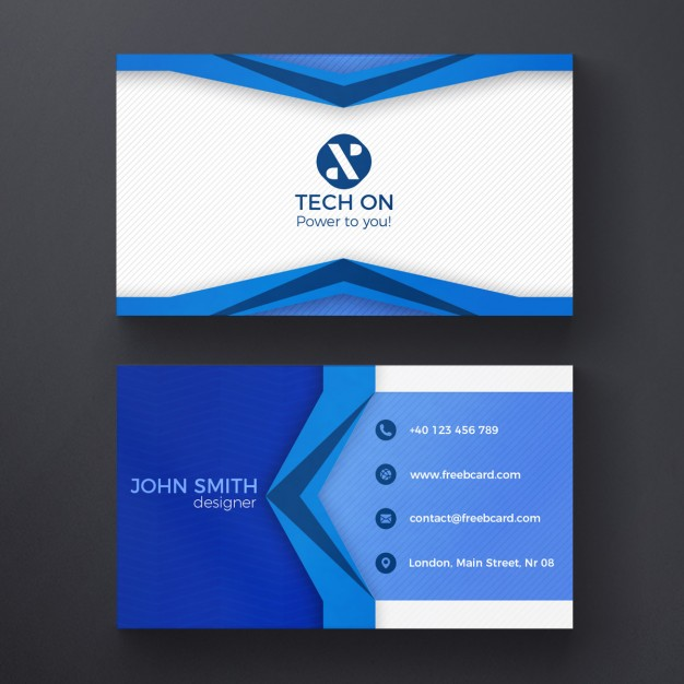 Blue Geometric Card Free Psd