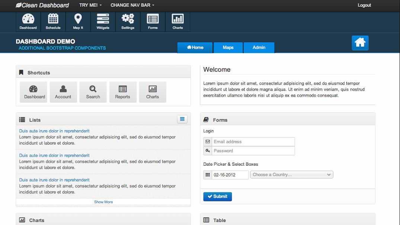 Clean Dashboard Responsive Bootstrap UI Theme