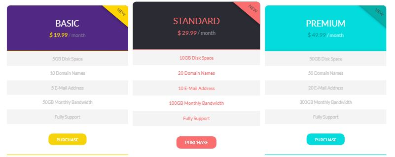 Flat Pricing Template - Best Free Bootstrap Pricing Templates