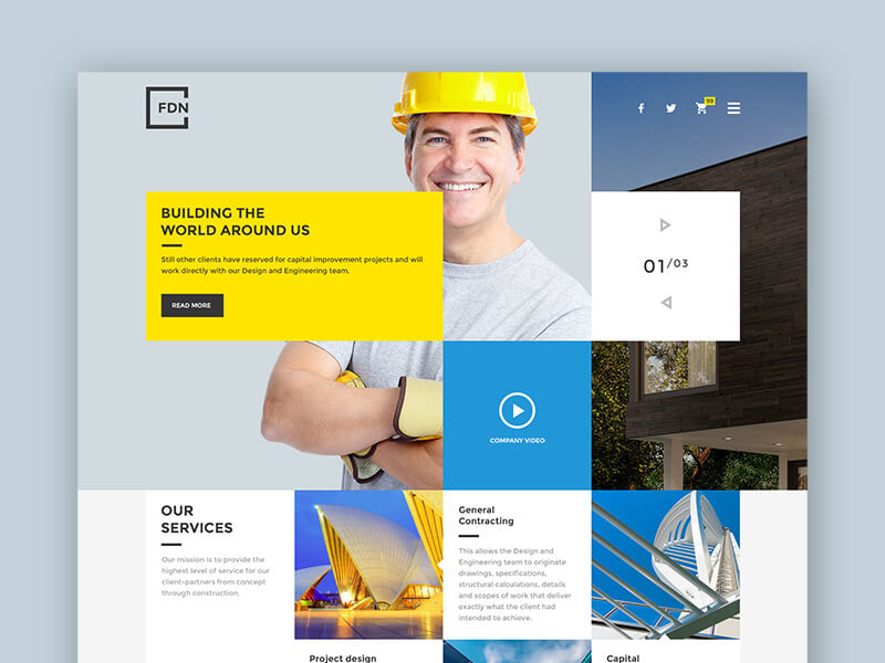 Foundation FDN – Construction Business PSD Template