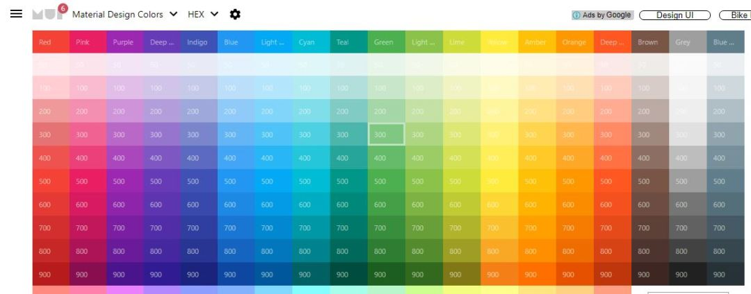 Material UI Colors - Color Palette for Material Design