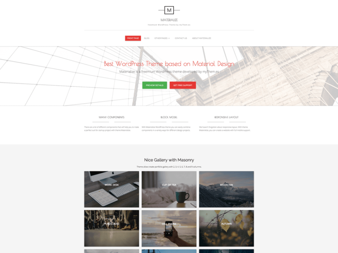 Materialize - Clean, Elegant, Modern Theme