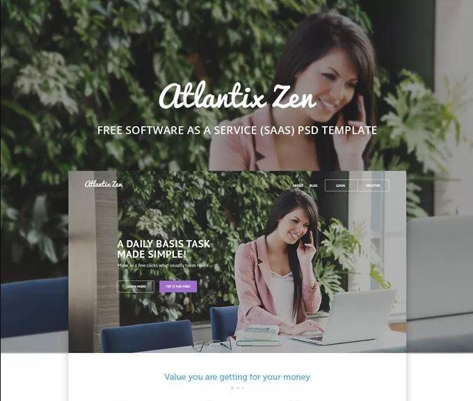 Atlantix Zen – SAAS free PSD web Template
