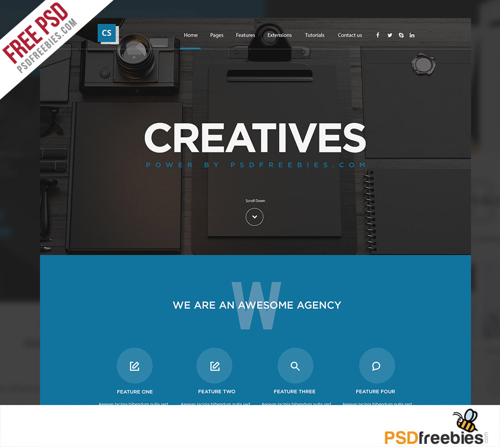 Creative Digital Agency Website Template Free PSD