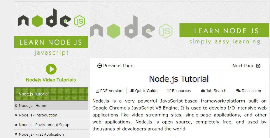 Node.js Tutorial (TutorialsPoint)