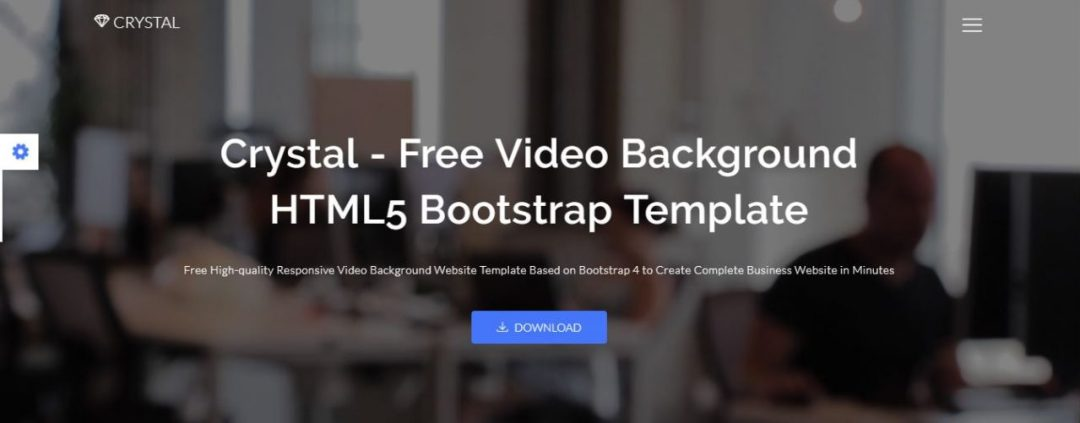 Crystal - Responsive Free Background Video Template Bootstrap