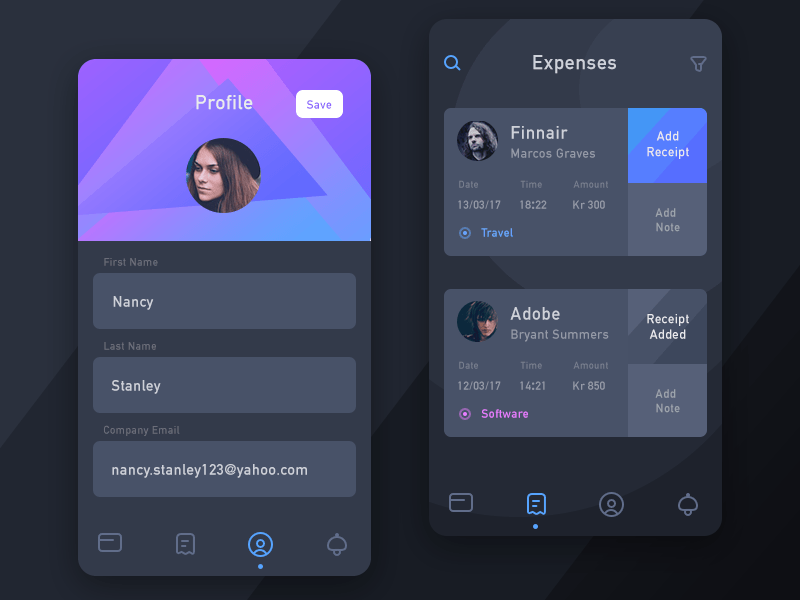 Expense Screen and Profile Exploration