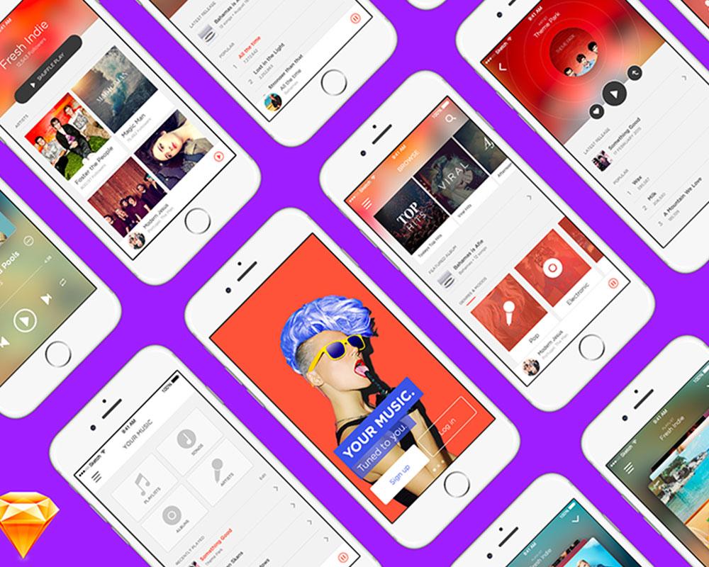 Music App UI Kit Free for Sketch