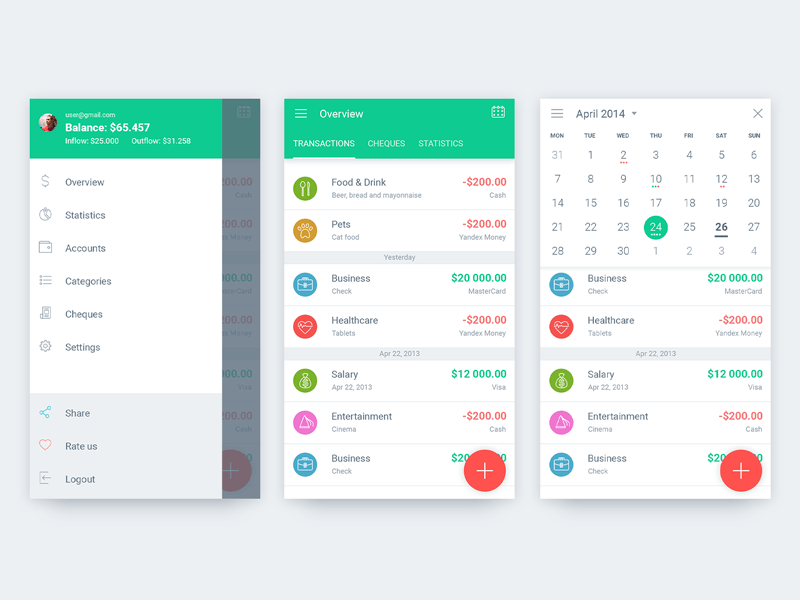 Overview, Calendar And Sidebar