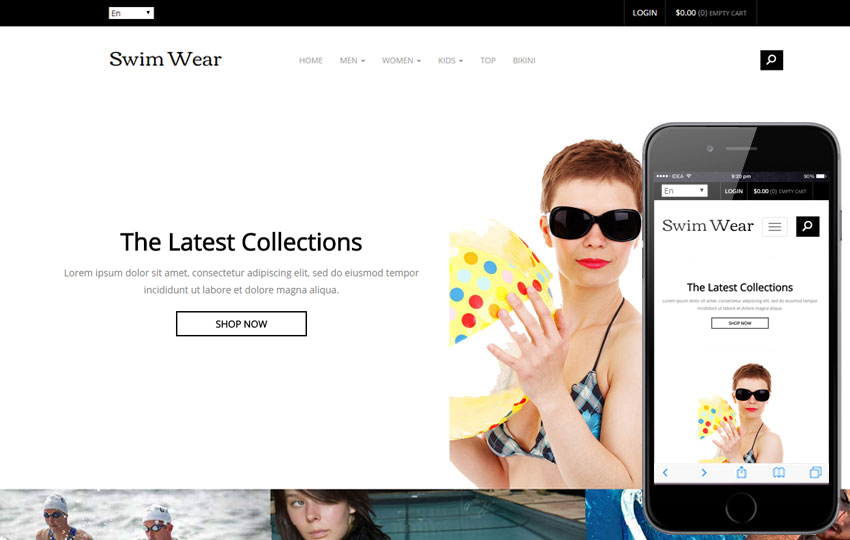 Swim Wear - eCommerce Bootstrap Free Template
