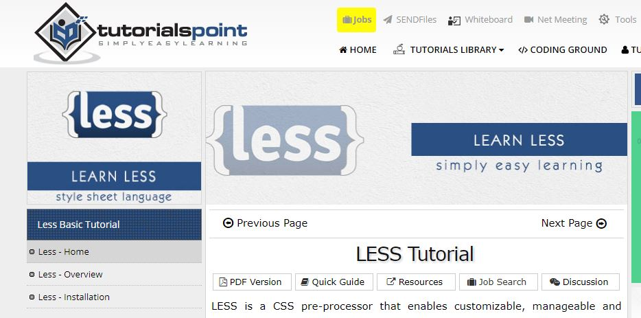 Tutorials Point Less Tutorial